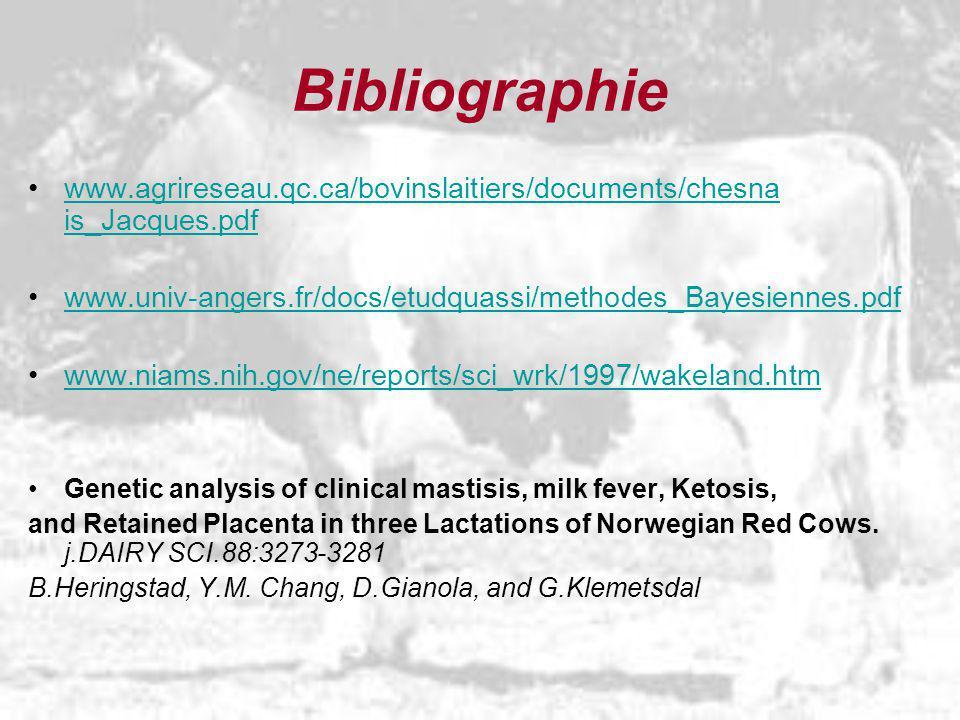 Bibliographie www.agrireseau.qc.ca/bovinslaitiers/documents/chesna is_Jacques.pdf. www.univ-angers.fr/docs/etudquassi/methodes_Bayesiennes.pdf.