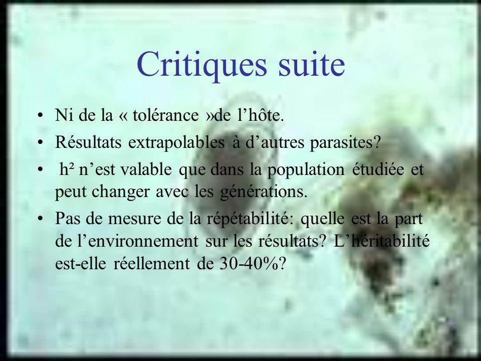 Critiques suite Ni de la « tolérance »de l'hôte.