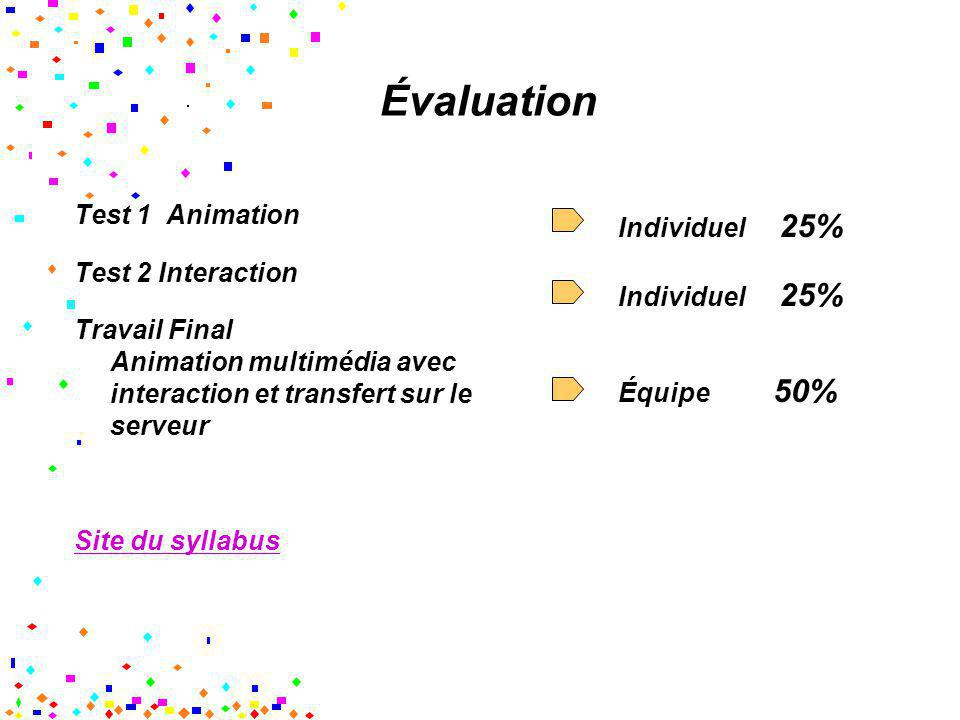 Évaluation Test 1 Animation Individuel 25% Test 2 Interaction