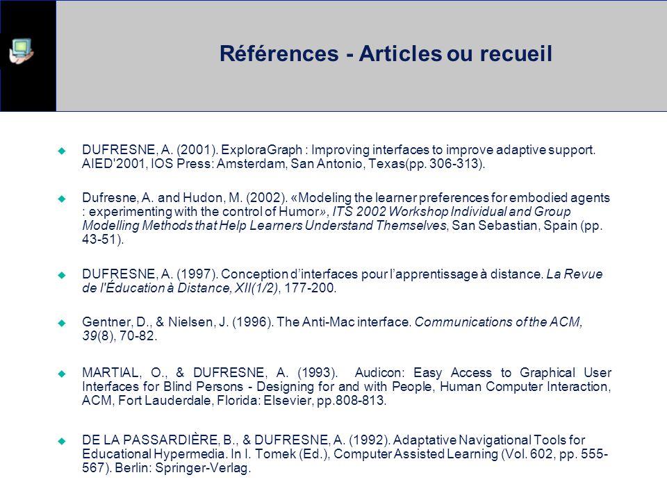 Références - Articles ou recueil