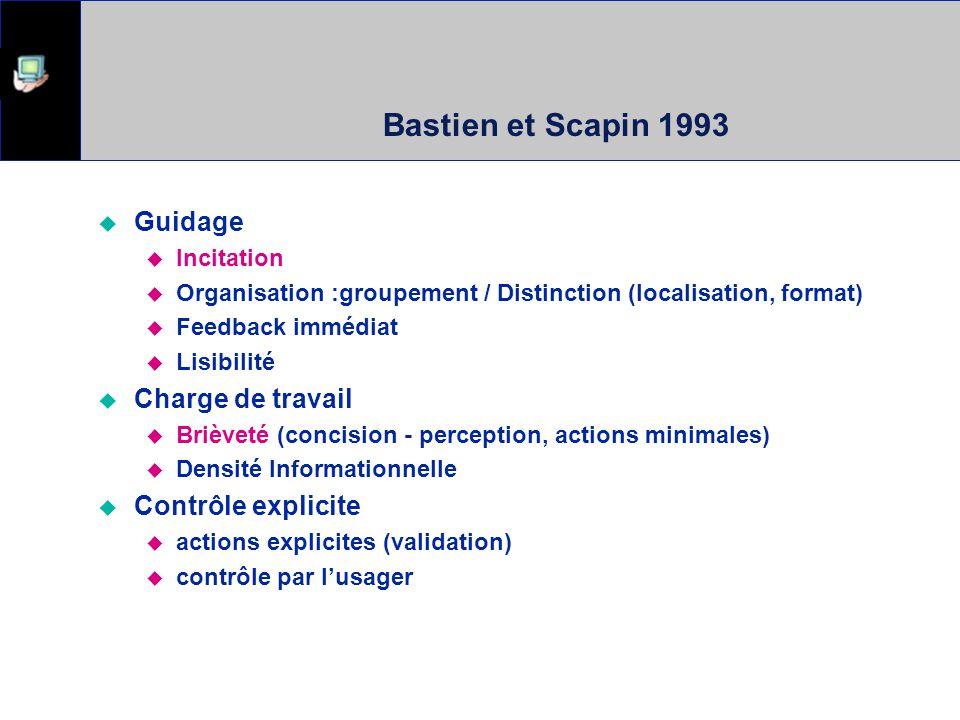 Bastien et Scapin 1993 Guidage Charge de travail Contrôle explicite