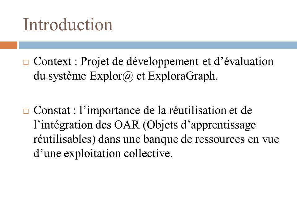 Introduction Context : Projet de développement et d'évaluation du système Explor@ et ExploraGraph.