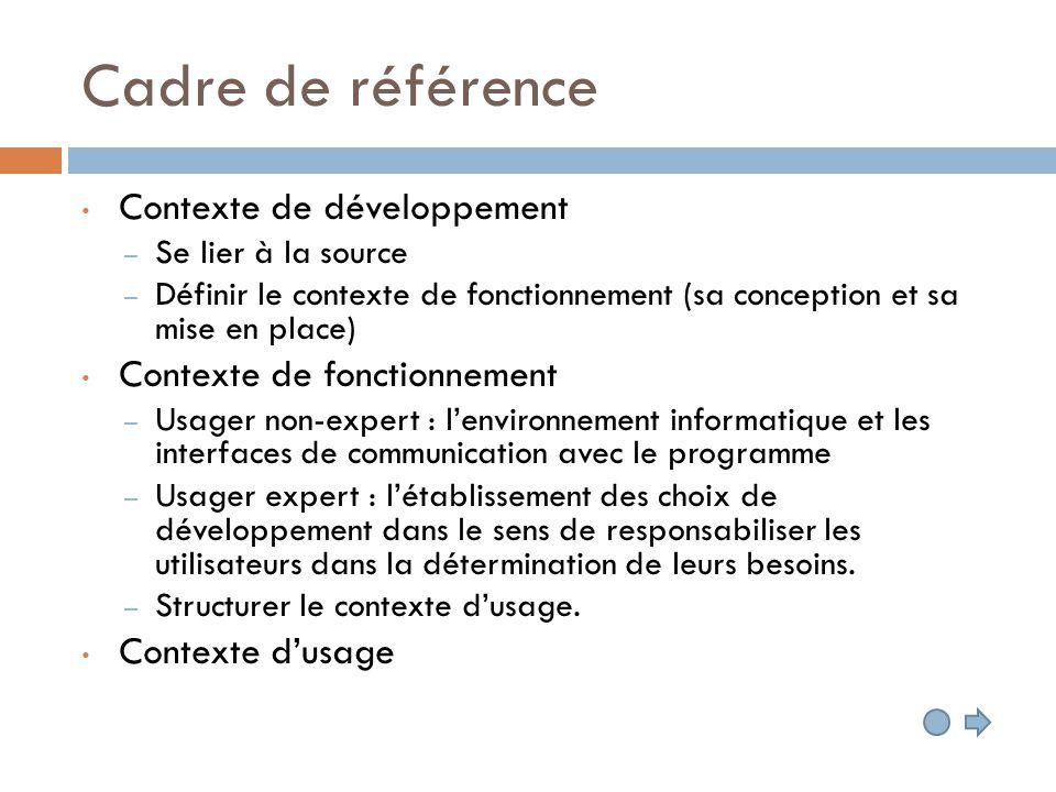 Cadre de référence Contexte de développement