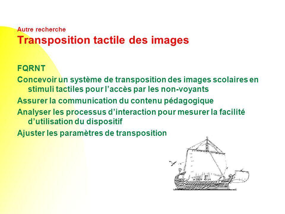 Autre recherche Transposition tactile des images