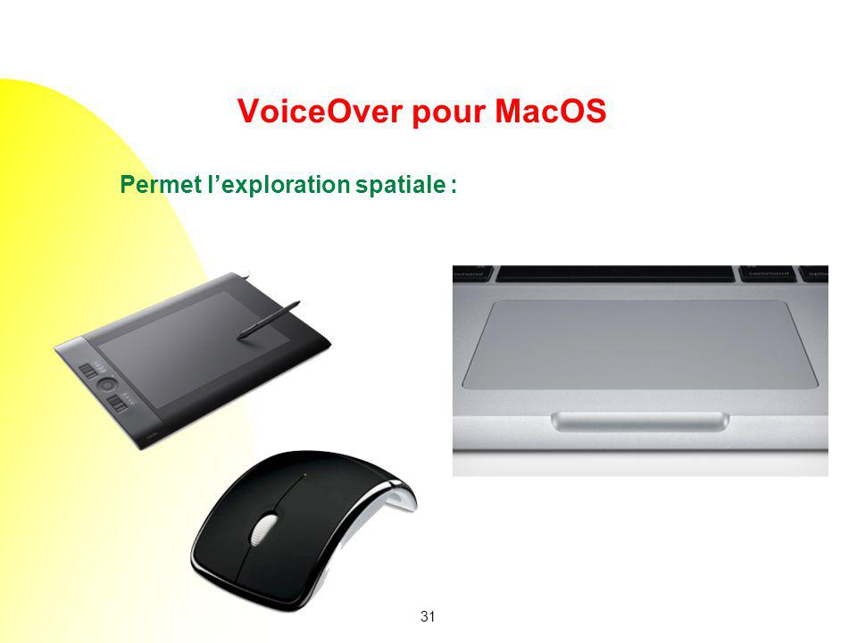 VoiceOver pour MacOS Permet l'exploration spatiale : but what's great is voiceover is spatial exploration.