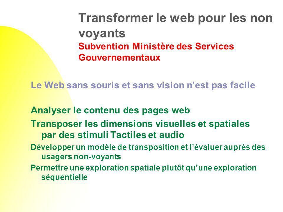 Transformer le web pour les non voyants Subvention Ministère des Services Gouvernementaux