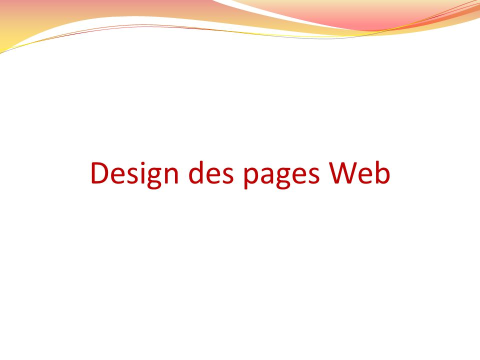 Design des pages Web