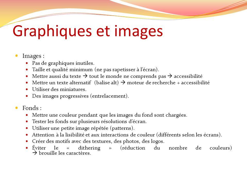 Graphiques et images Images : Fonds : Pas de graphiques inutiles.