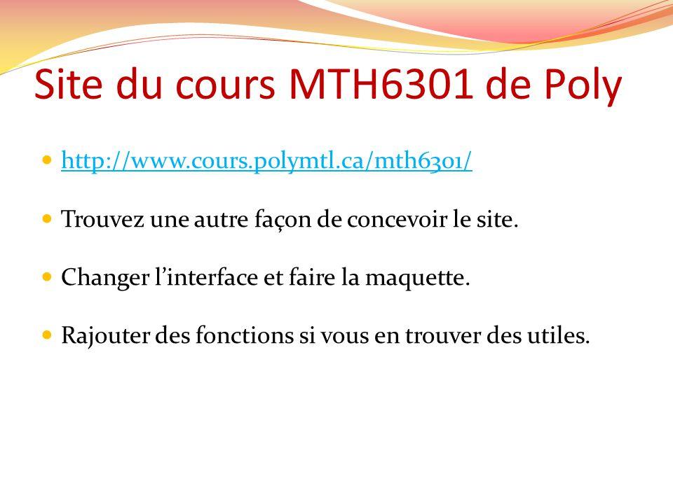 Site du cours MTH6301 de Poly