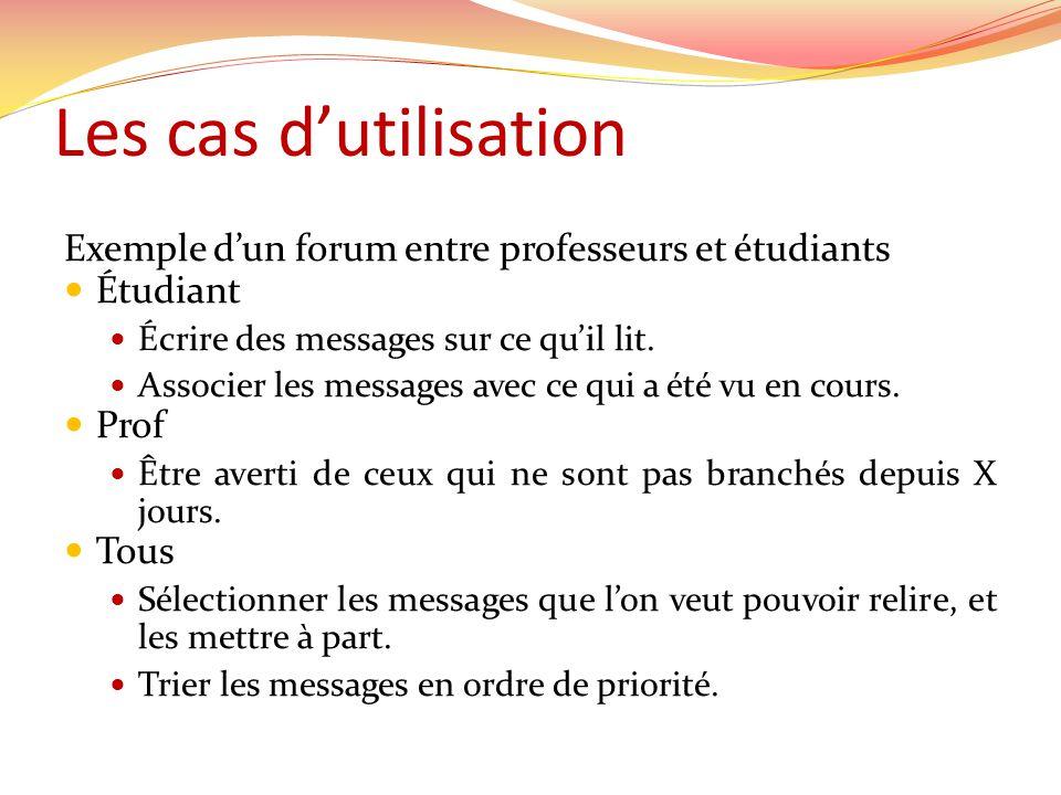 Les cas d'utilisation Exemple d'un forum entre professeurs et étudiants. Étudiant. Écrire des messages sur ce qu'il lit.