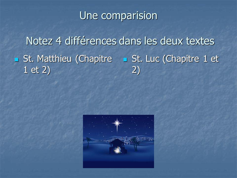 Une comparision Notez 4 différences dans les deux textes