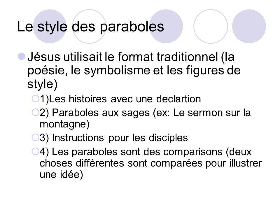 Le style des paraboles Jésus utilisait le format traditionnel (la poésie, le symbolisme et les figures de style)