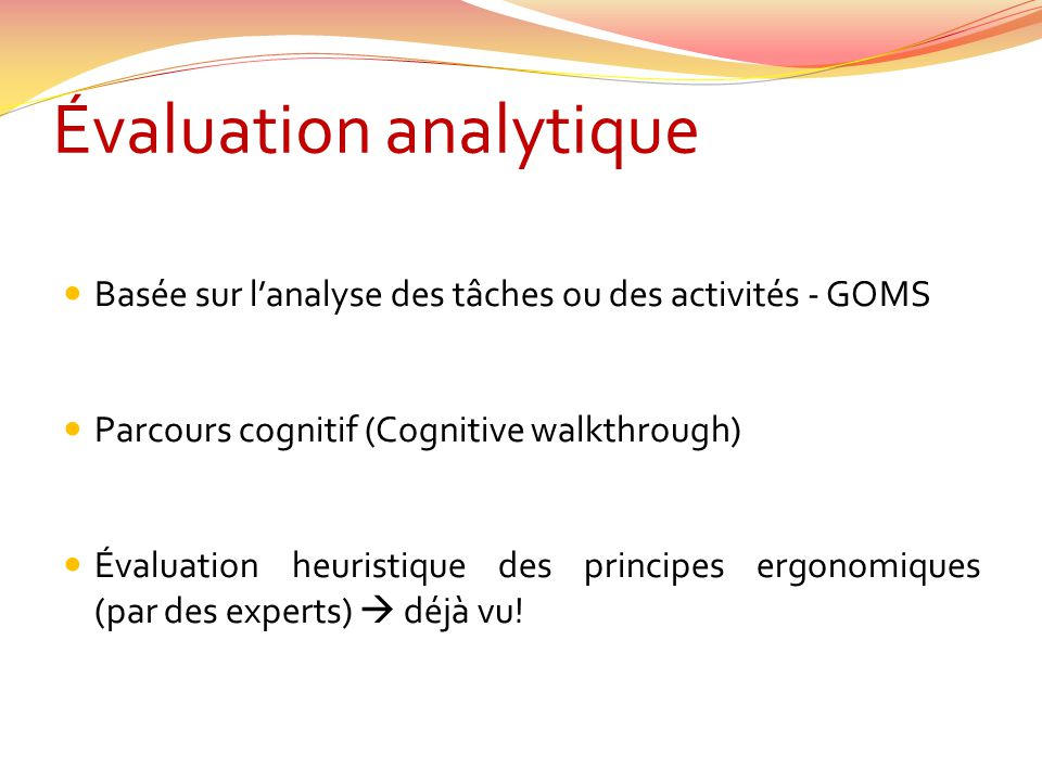 Évaluation analytique