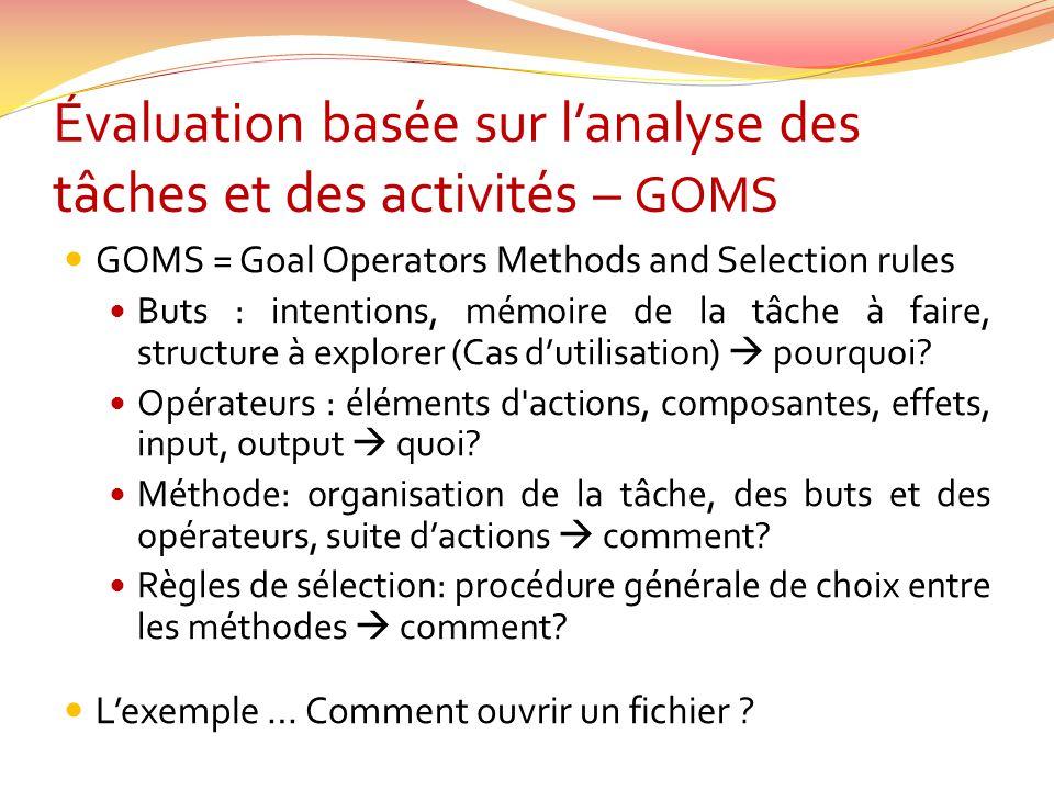Évaluation basée sur l'analyse des tâches et des activités – GOMS