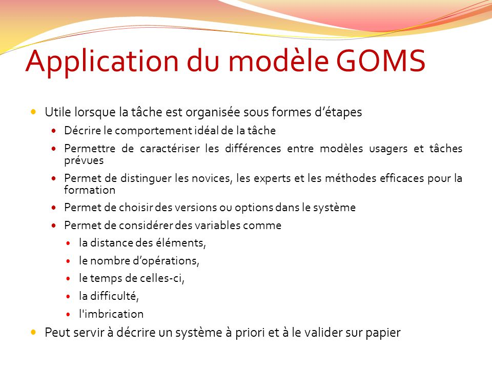 Application du modèle GOMS