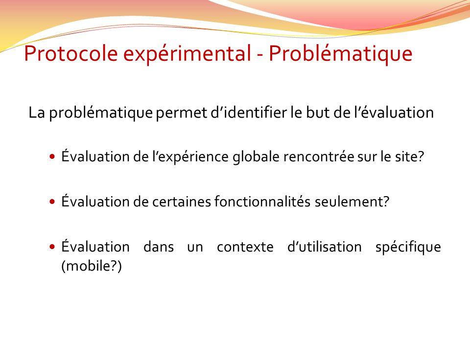 Protocole expérimental - Problématique