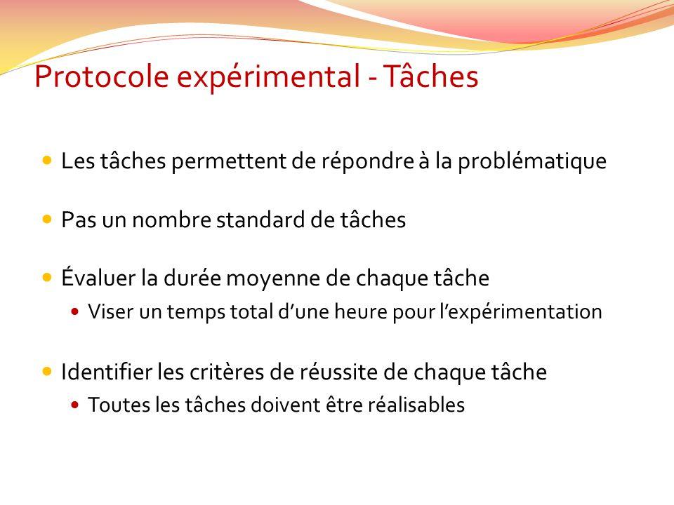 Protocole expérimental - Tâches