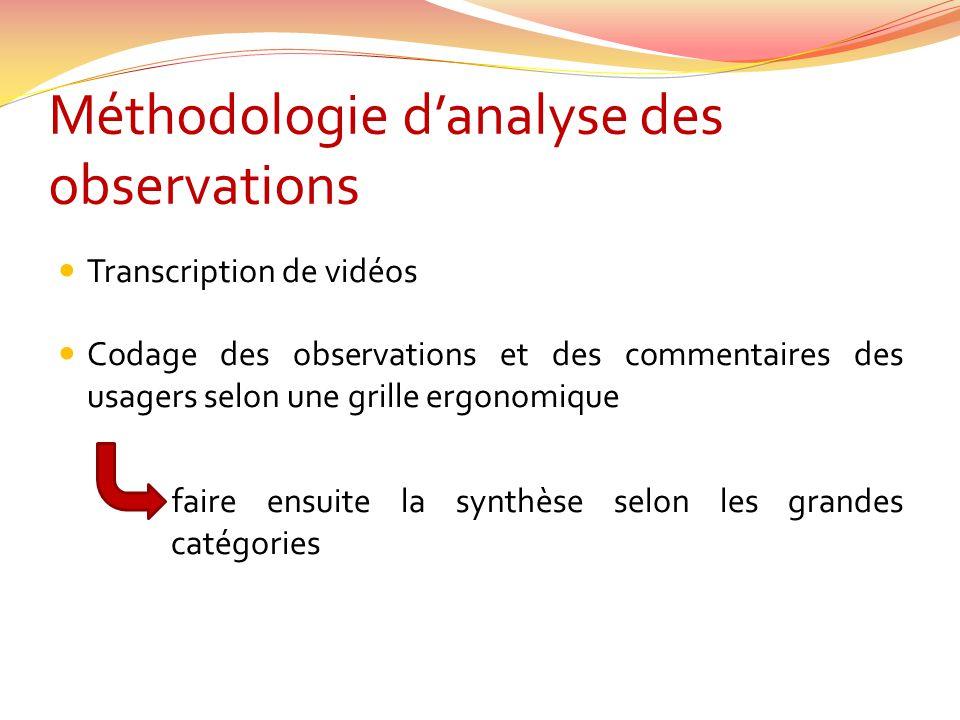 Méthodologie d'analyse des observations