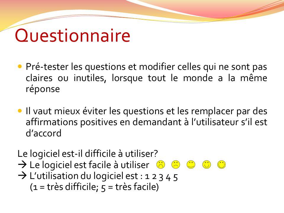 Questionnaire Pré-tester les questions et modifier celles qui ne sont pas claires ou inutiles, lorsque tout le monde a la même réponse.