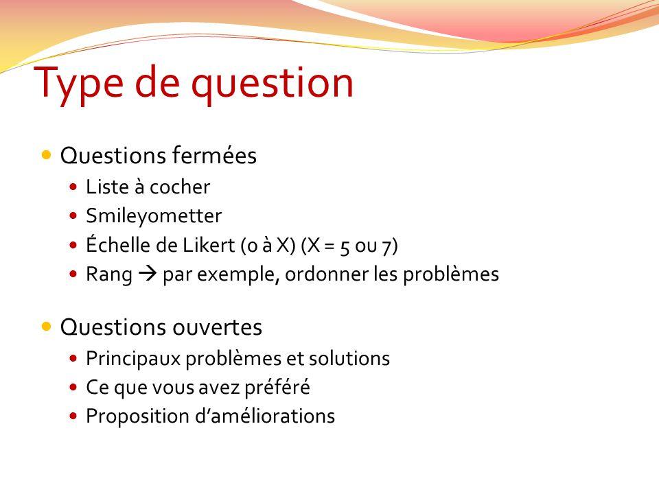 Type de question Questions fermées Questions ouvertes Liste à cocher