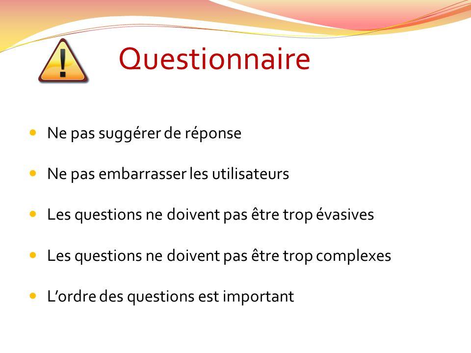Questionnaire Ne pas suggérer de réponse