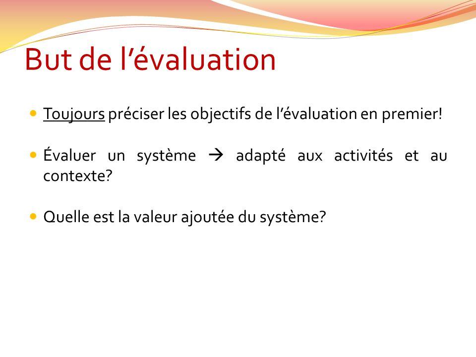 But de l'évaluation Toujours préciser les objectifs de l'évaluation en premier! Évaluer un système  adapté aux activités et au contexte