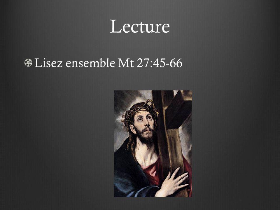 Lecture Lisez ensemble Mt 27:45-66