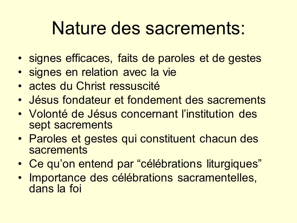 Nature des sacrements: