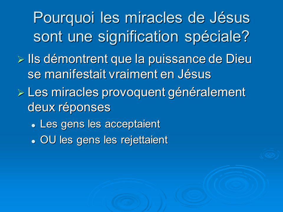 Pourquoi les miracles de Jésus sont une signification spéciale