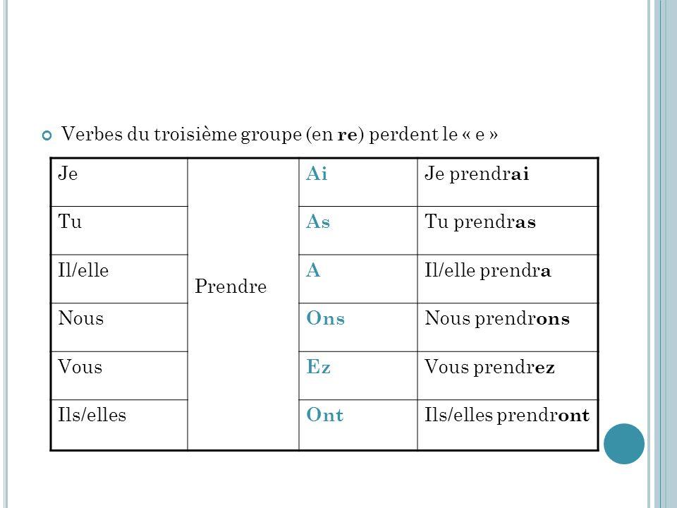 Verbes du troisième groupe (en re) perdent le « e »