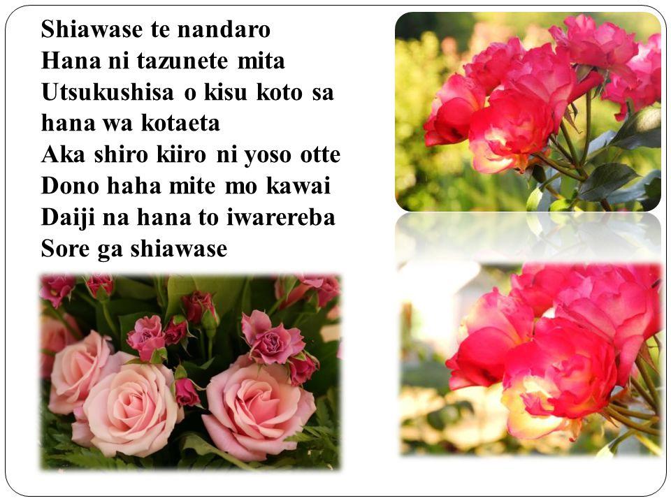 Shiawase te nandaro Hana ni tazunete mita. Utsukushisa o kisu koto sa. hana wa kotaeta. Aka shiro kiiro ni yoso otte.