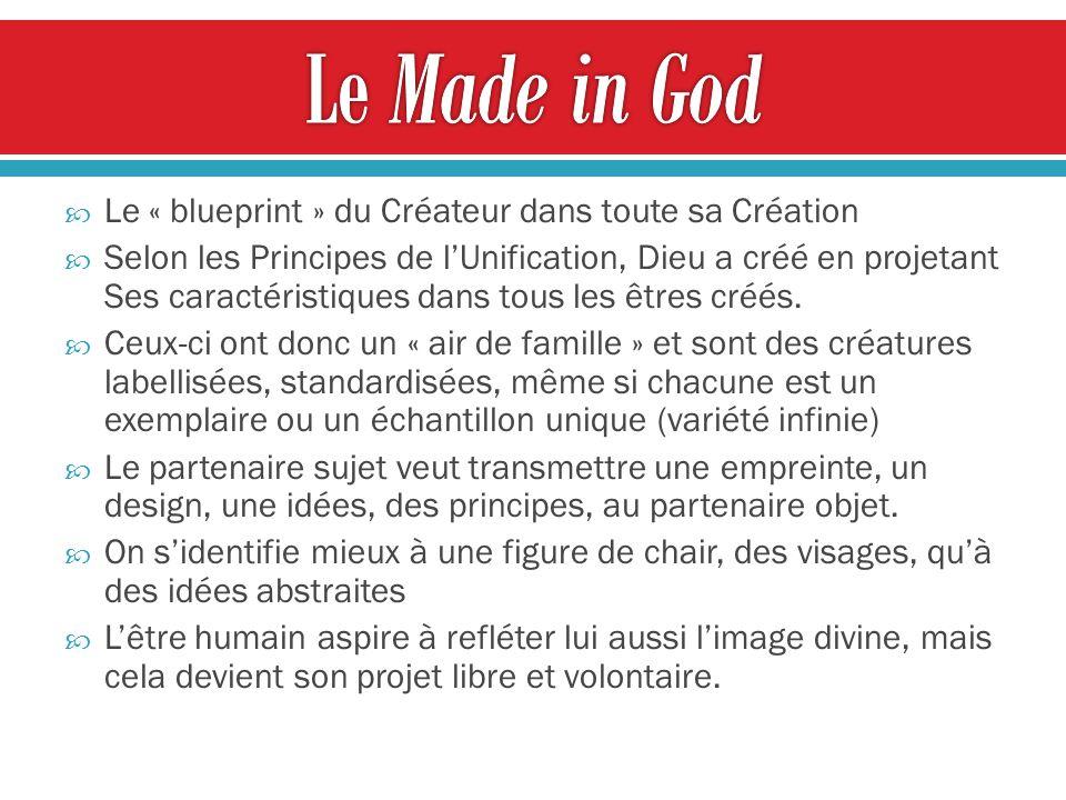 Le Made in God Le « blueprint » du Créateur dans toute sa Création