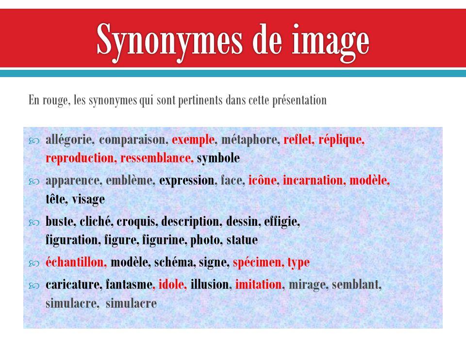 Synonymes de image En rouge, les synonymes qui sont pertinents dans cette présentation.