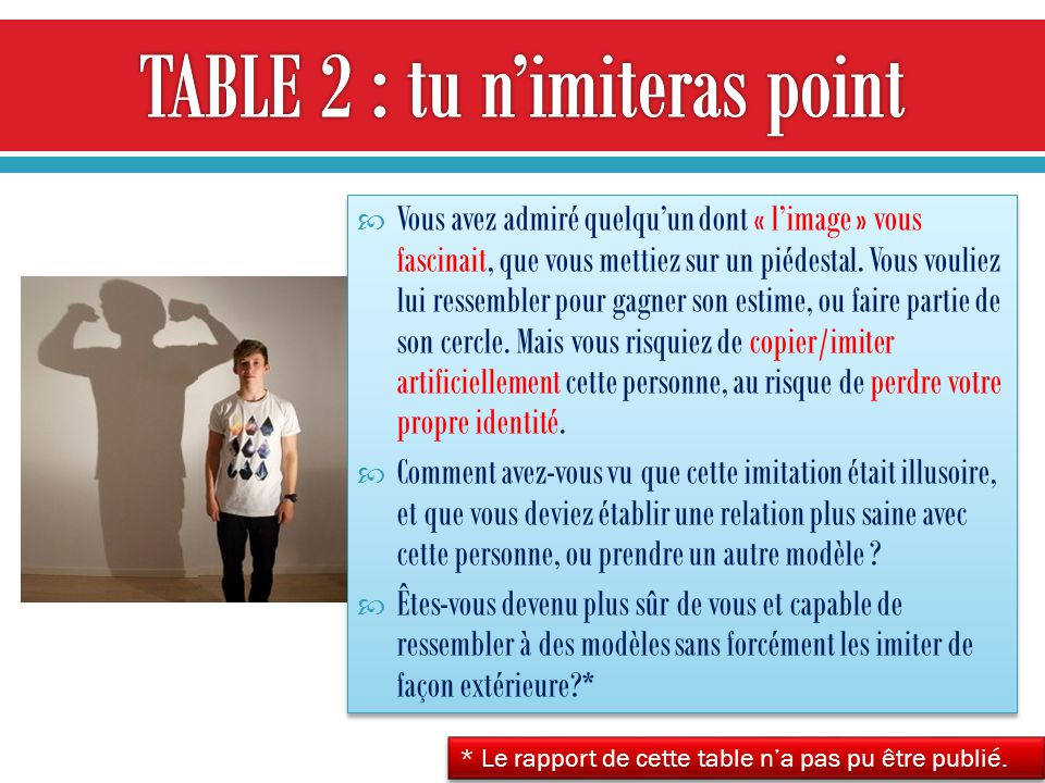TABLE 2 : tu n'imiteras point