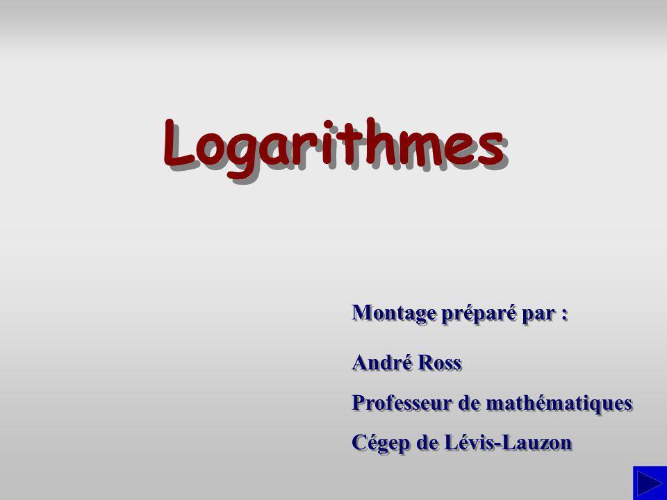 Logarithmes Montage préparé par : André Ross