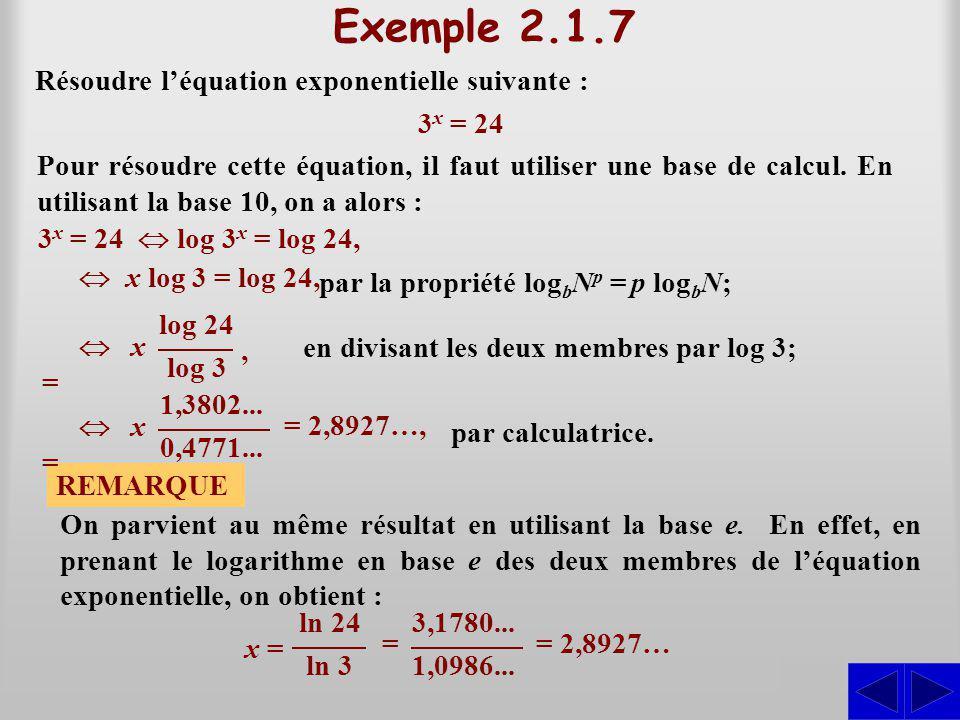 Exemple 2.1.7 S S Résoudre l'équation exponentielle suivante : 3x = 24