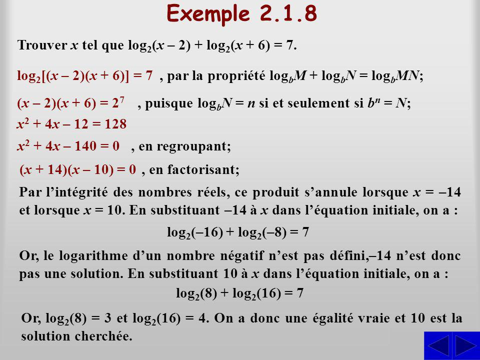 Exemple 2.1.8 S Trouver x tel que log2(x – 2) + log2(x + 6) = 7.