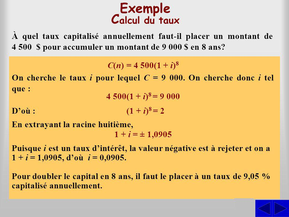 Exemple Calcul du taux S S