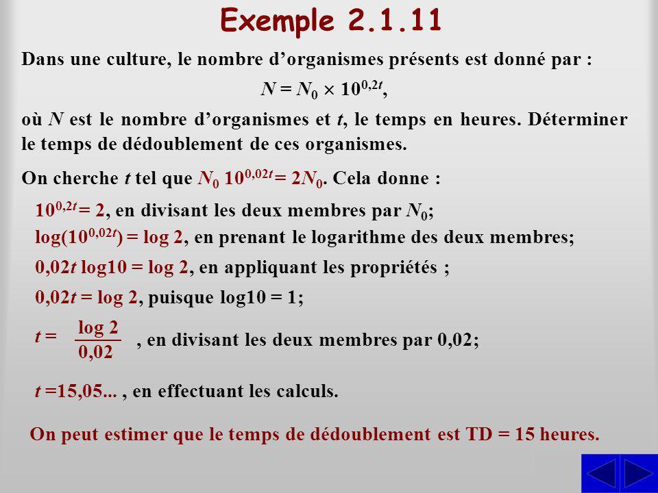 Exemple 2.1.11 Dans une culture, le nombre d'organismes présents est donné par : N = N0 ´ 100,2t,