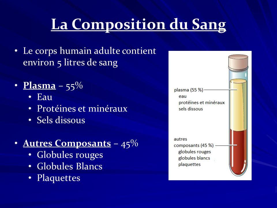 La Composition du Sang Le corps humain adulte contient environ 5 litres de sang. Plasma – 55% Eau.