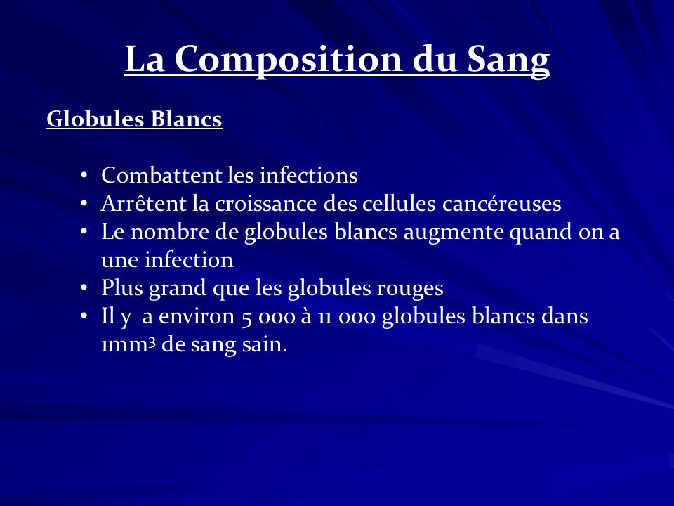 La Composition du Sang Globules Blancs Combattent les infections