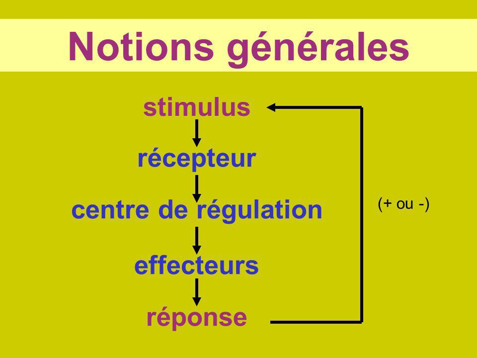 Notions générales stimulus récepteur centre de régulation effecteurs
