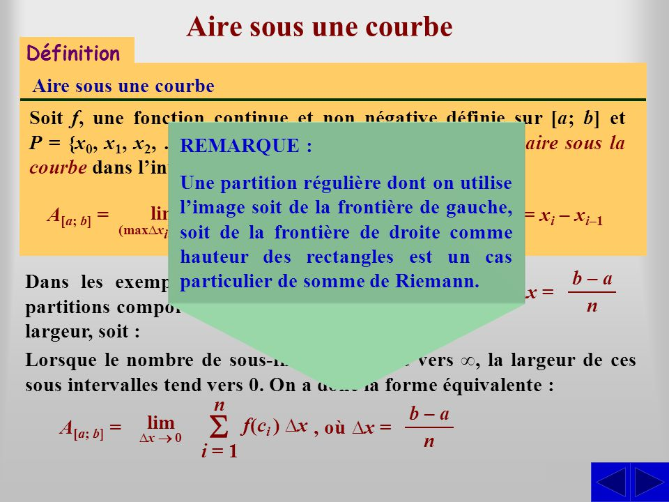 S S Aire sous une courbe S Définition Aire sous une courbe