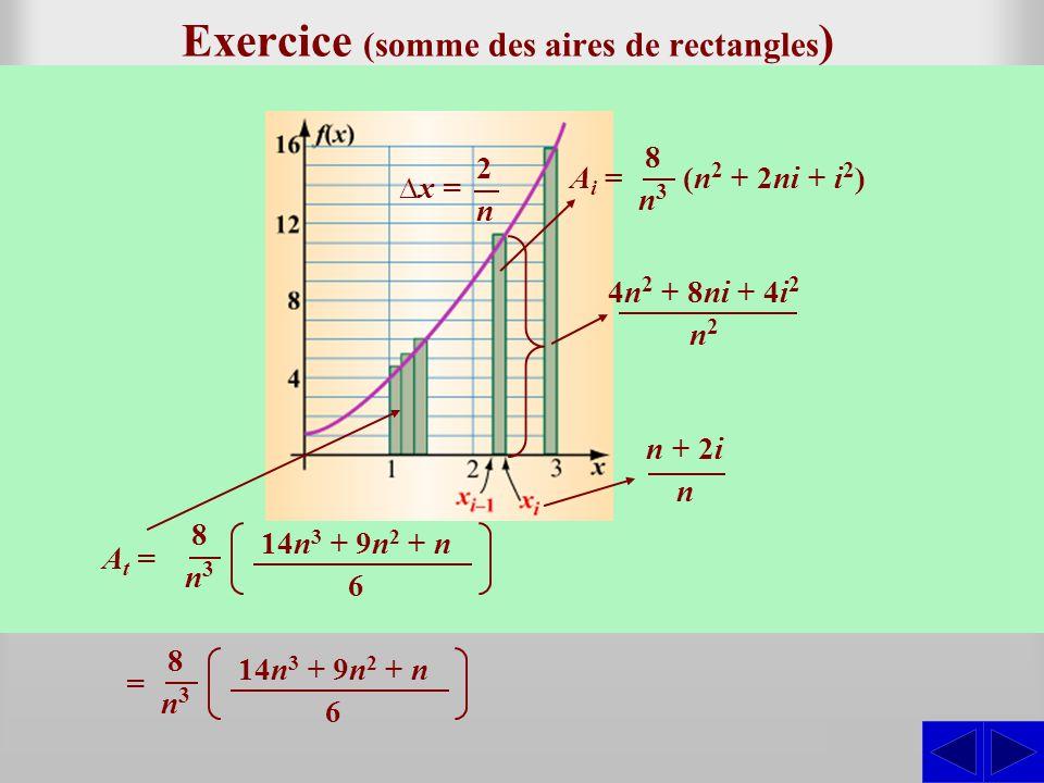 Exercice (somme des aires de rectangles)