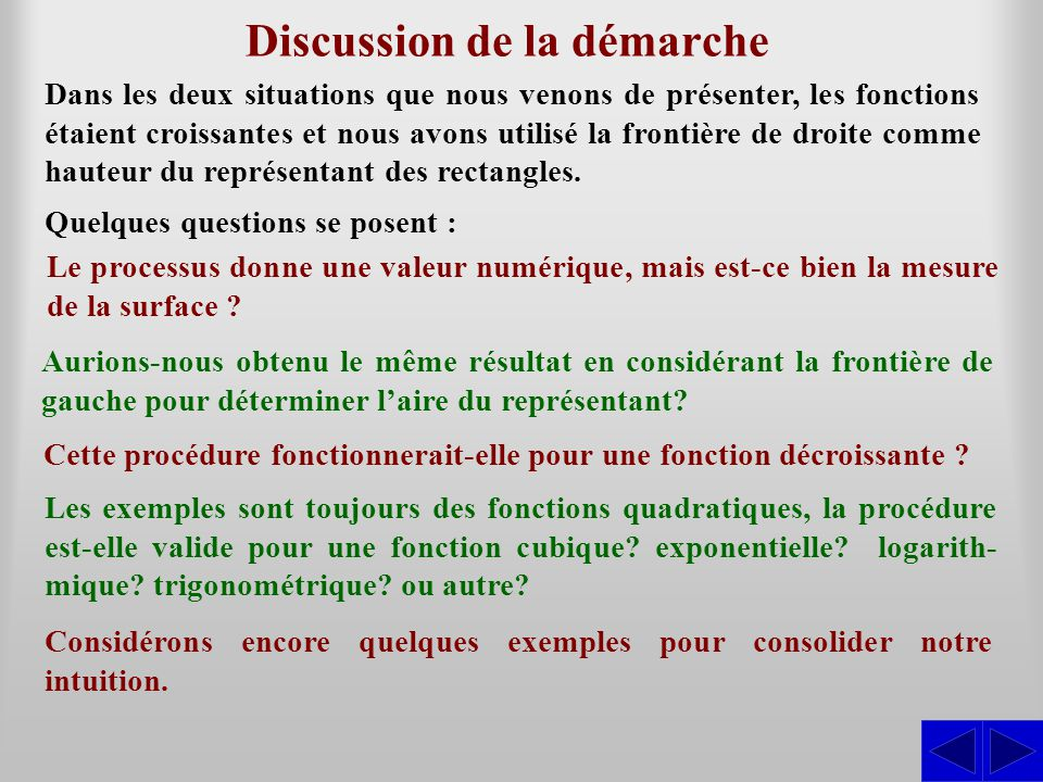 Discussion de la démarche