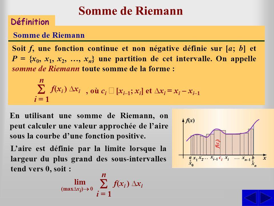 S S Somme de Riemann S Définition Somme de Riemann