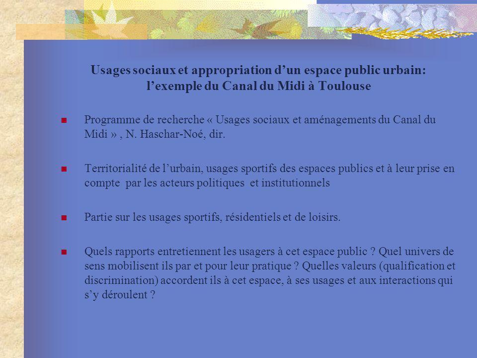 Usages sociaux et appropriation d'un espace public urbain: l'exemple du Canal du Midi à Toulouse