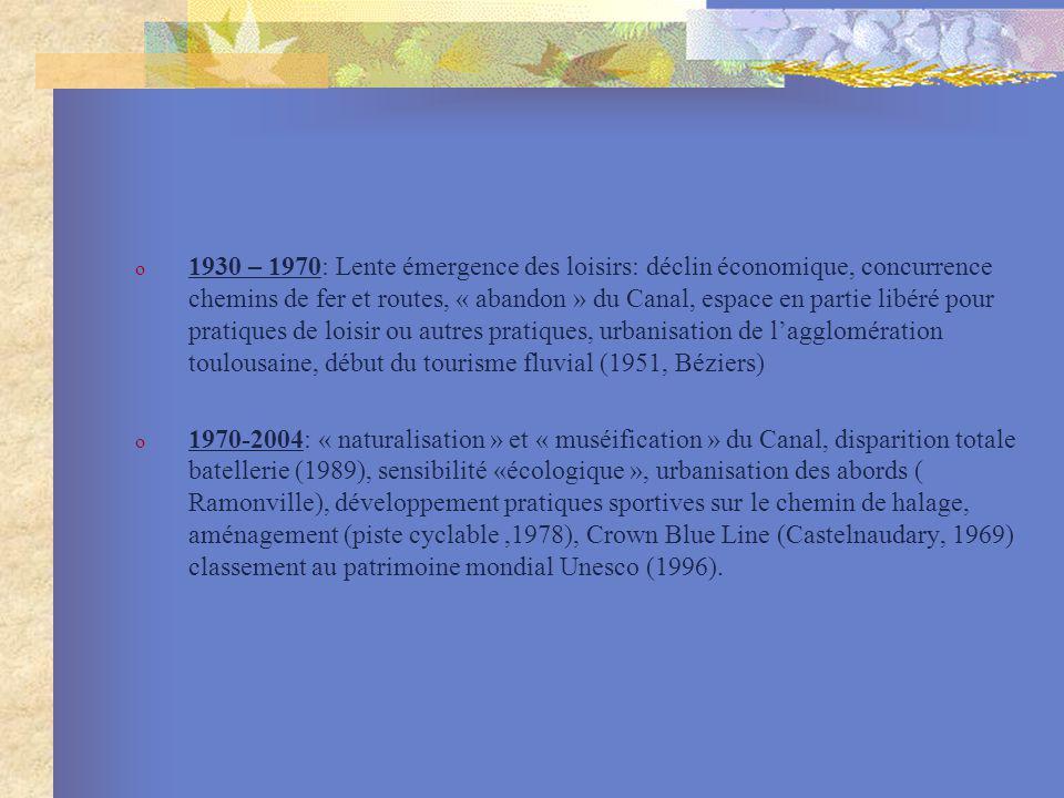 1930 – 1970: Lente émergence des loisirs: déclin économique, concurrence chemins de fer et routes, « abandon » du Canal, espace en partie libéré pour pratiques de loisir ou autres pratiques, urbanisation de l'agglomération toulousaine, début du tourisme fluvial (1951, Béziers)
