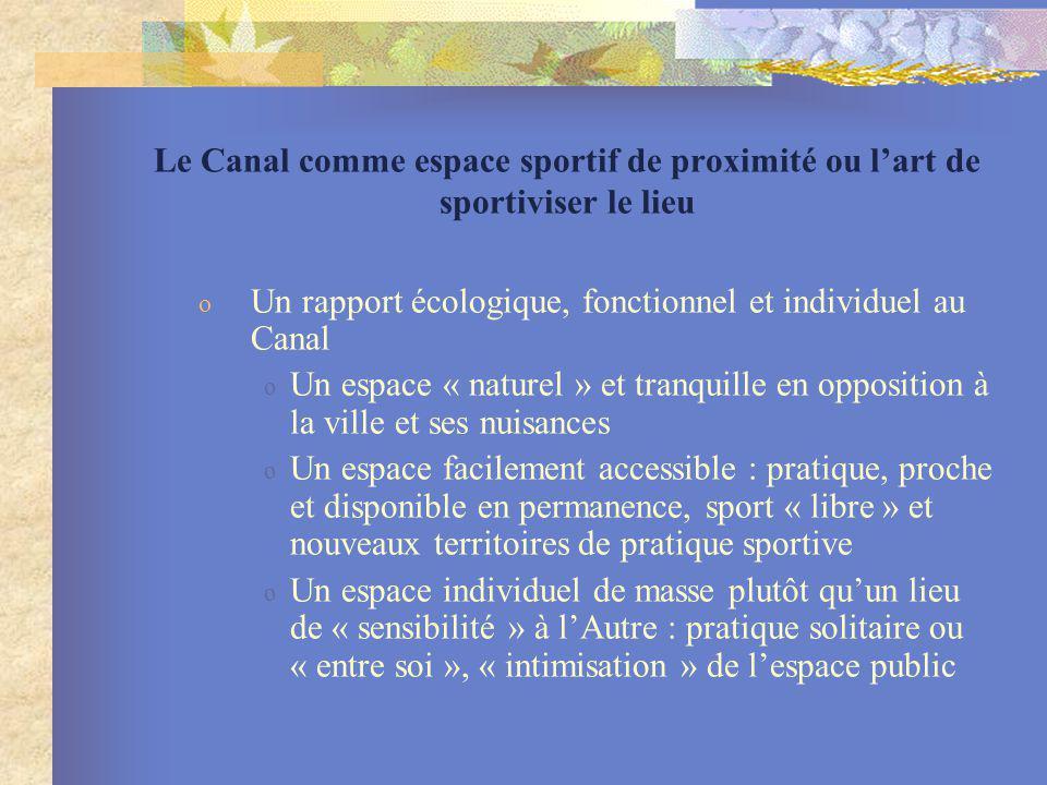Le Canal comme espace sportif de proximité ou l'art de sportiviser le lieu