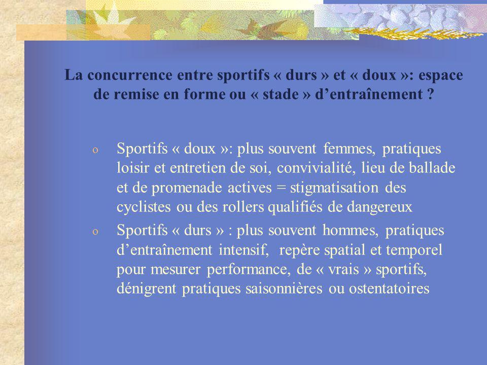 La concurrence entre sportifs « durs » et « doux »: espace de remise en forme ou « stade » d'entraînement